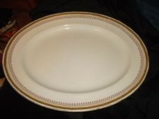 "VINTAGE BRIDGWOOD ANCHOR GOOD SIZED OVAL PLATTER GREEK KEY RIM 14"" X 11"""